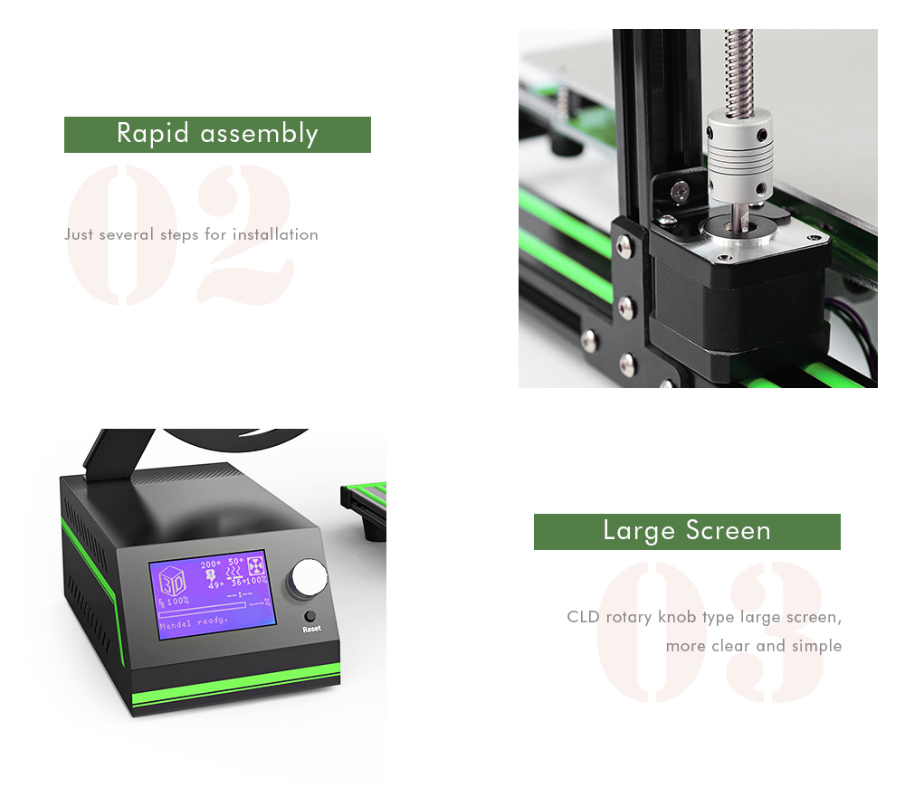 Anet E10 Aluminum Frame Multi-language 3D Printer DIY Set- Green EU