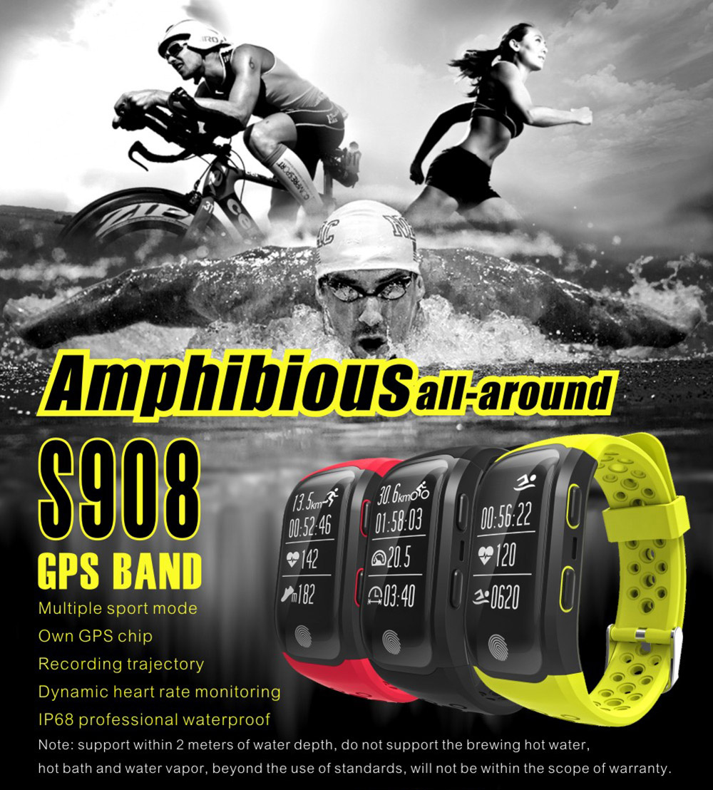 S908 GPS Smartband Heart Rate / Sleep Monitor Sedentary Reminder Pedometer IP68 Waterproof