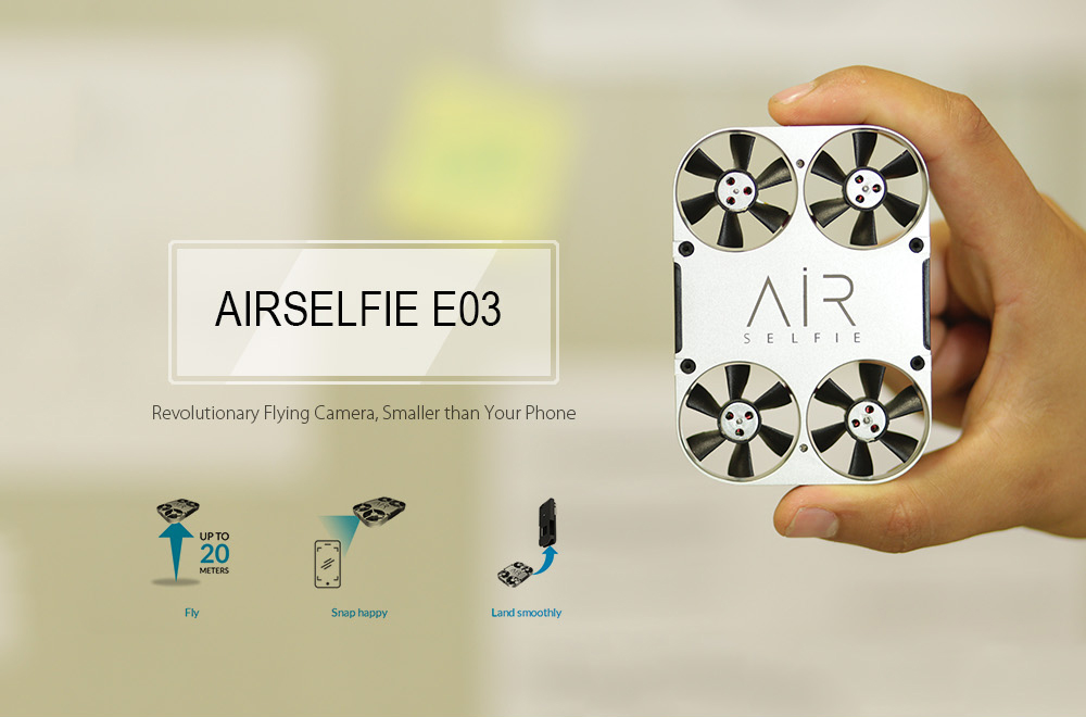 AirSelfie E03 Micro Brushless RC Pocket Drone BNF WiFi FPV 5MP Camera / Visual Positioning / TossFly