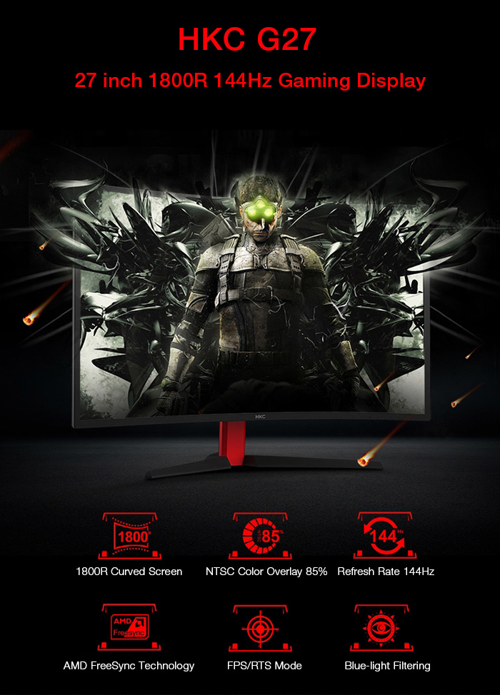 HKC G27 27 inch 1800R VA Screen Gaming Display with 1920 x 1080 Pixel / 144Hz