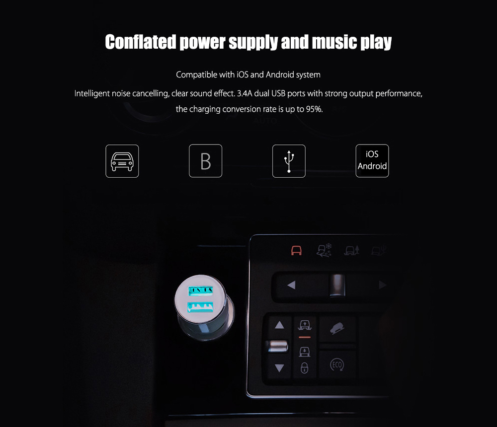 Original Xiaomi ROIDMI 3S Dual USB Ports Bluetooth Music Car Charger- Black