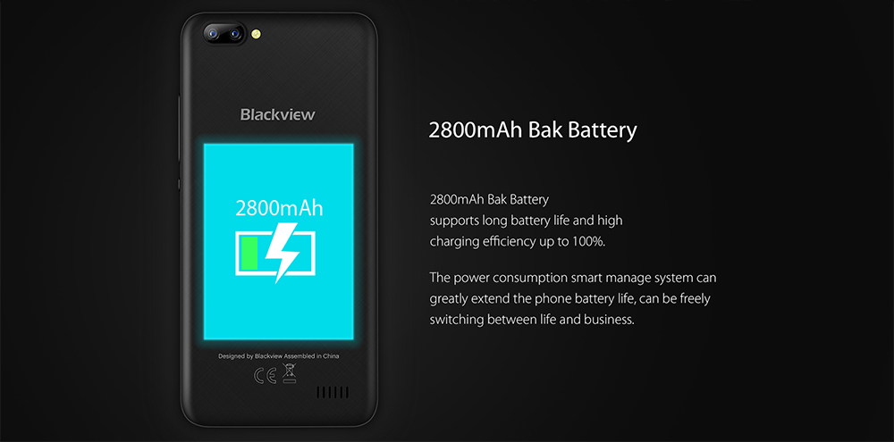 Blackview A7 3G Smartphone Android 7.0 5.0 inch IPS Screen MTK6580A 1.3GHz Quad Core 1GB RAM 8GB ROM 0.3MP + 5.0MP Dual Rear Cameras Bluetooth 4.1