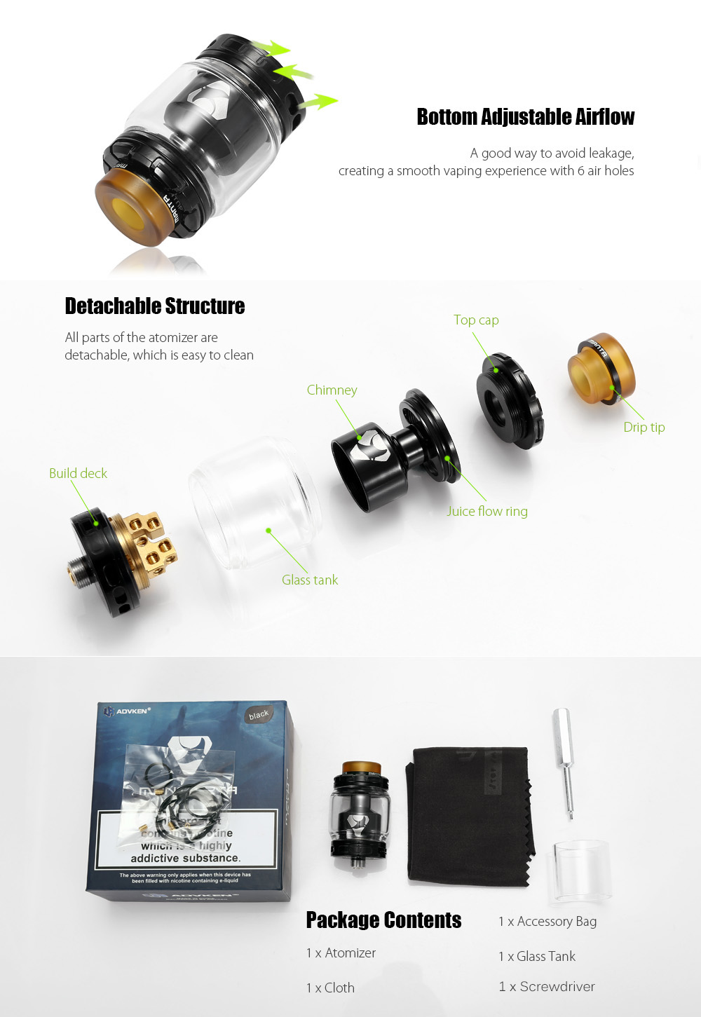 ADVKEN Manta RTA with 3ml / 5ml / Dual Gold-plated Posts / Bottom Adjustable Airflow for E Cigarette