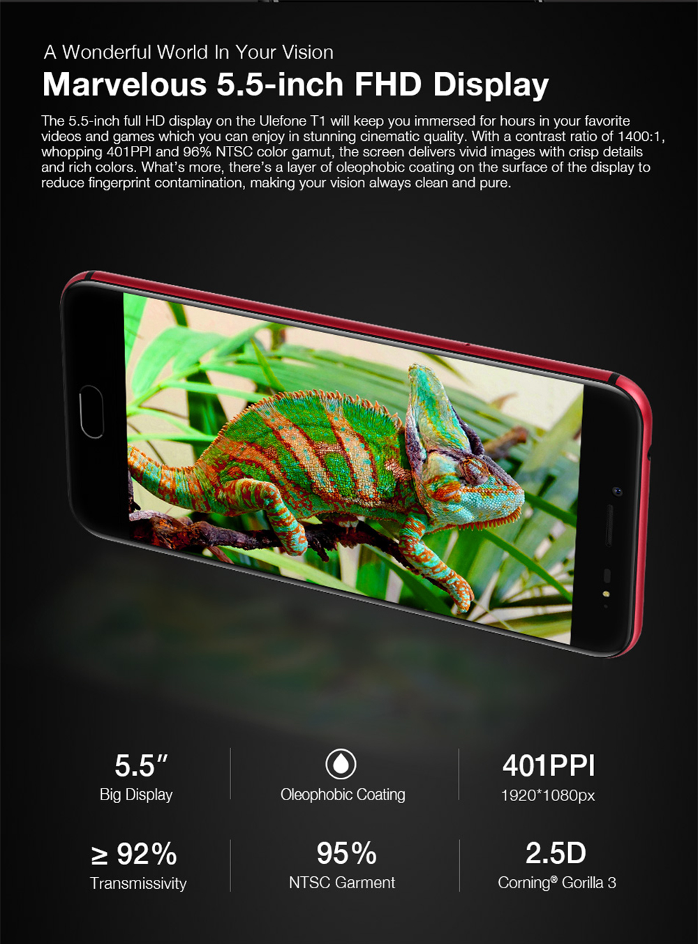 Ulefone T1 4G Phablet Android 7.0 5.5 inch Helio P25 Octa Core 2.6GHz 6GB RAM 64 GB ROM 16.0MP+5.0MP Dual Rear Cameras Type-C Front Touch Sensor
