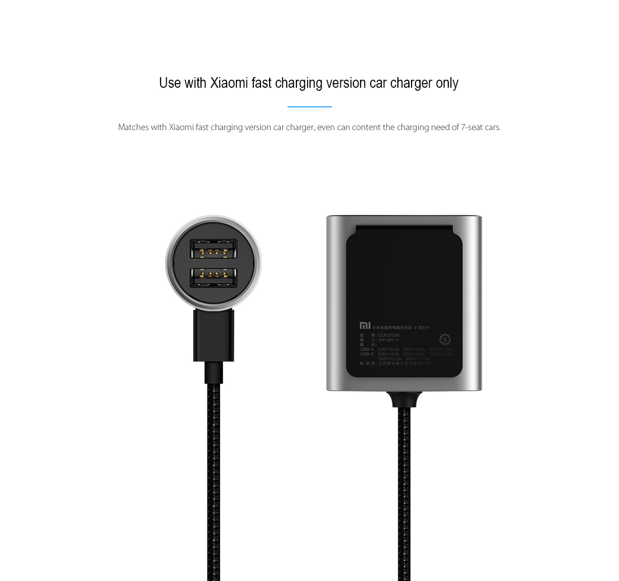 Original xiaomi fast charging version usb car charger expansion accessory