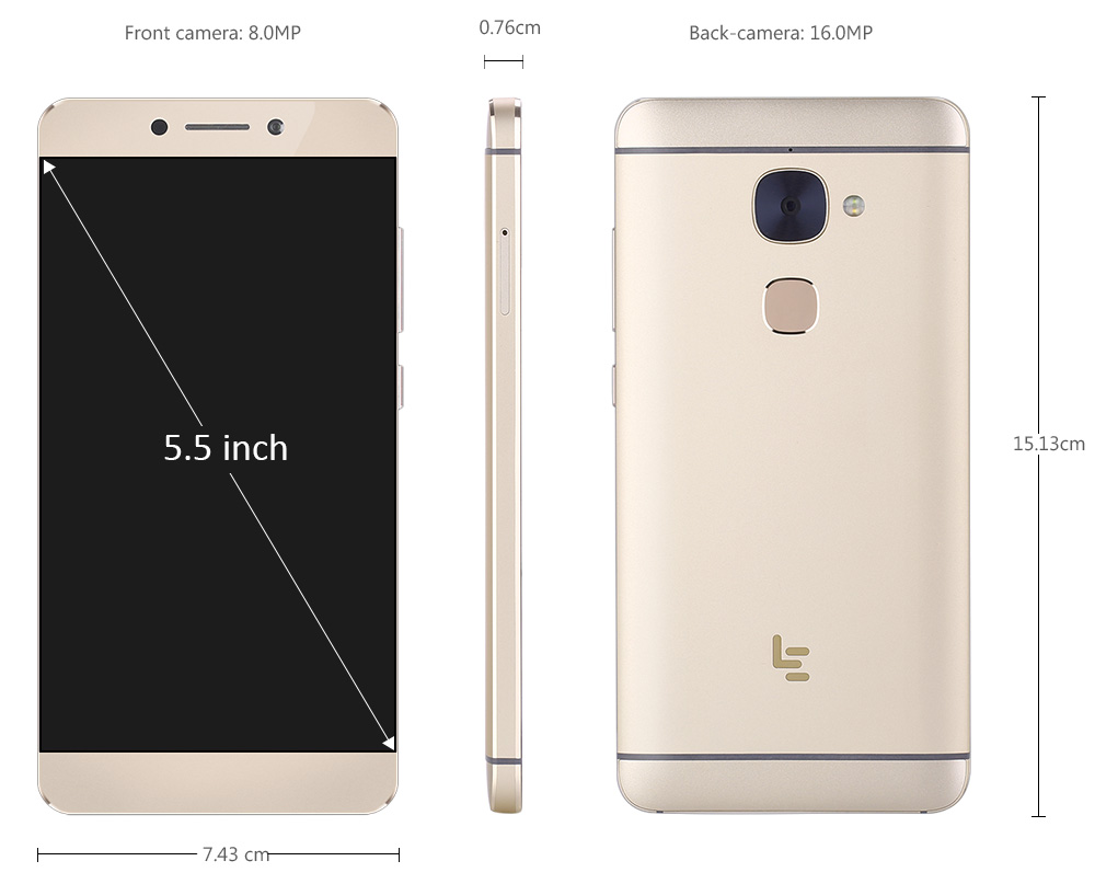 LETV LeEco Le S3 X622 4G Phablet Android 6.0 5.5 inch Helio X20 Deca Core 2.3GHz 3GB RAM 32GB ROM Fingerprint Touch Sensor 16.0MP + 8.0MP Camera