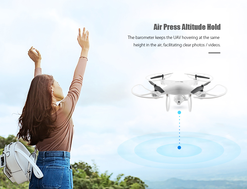 LH - X25S RC Quadcopter RTF WiFi FPV 2MP Camera / Air Press Altitude Hold / One Key Return- White
