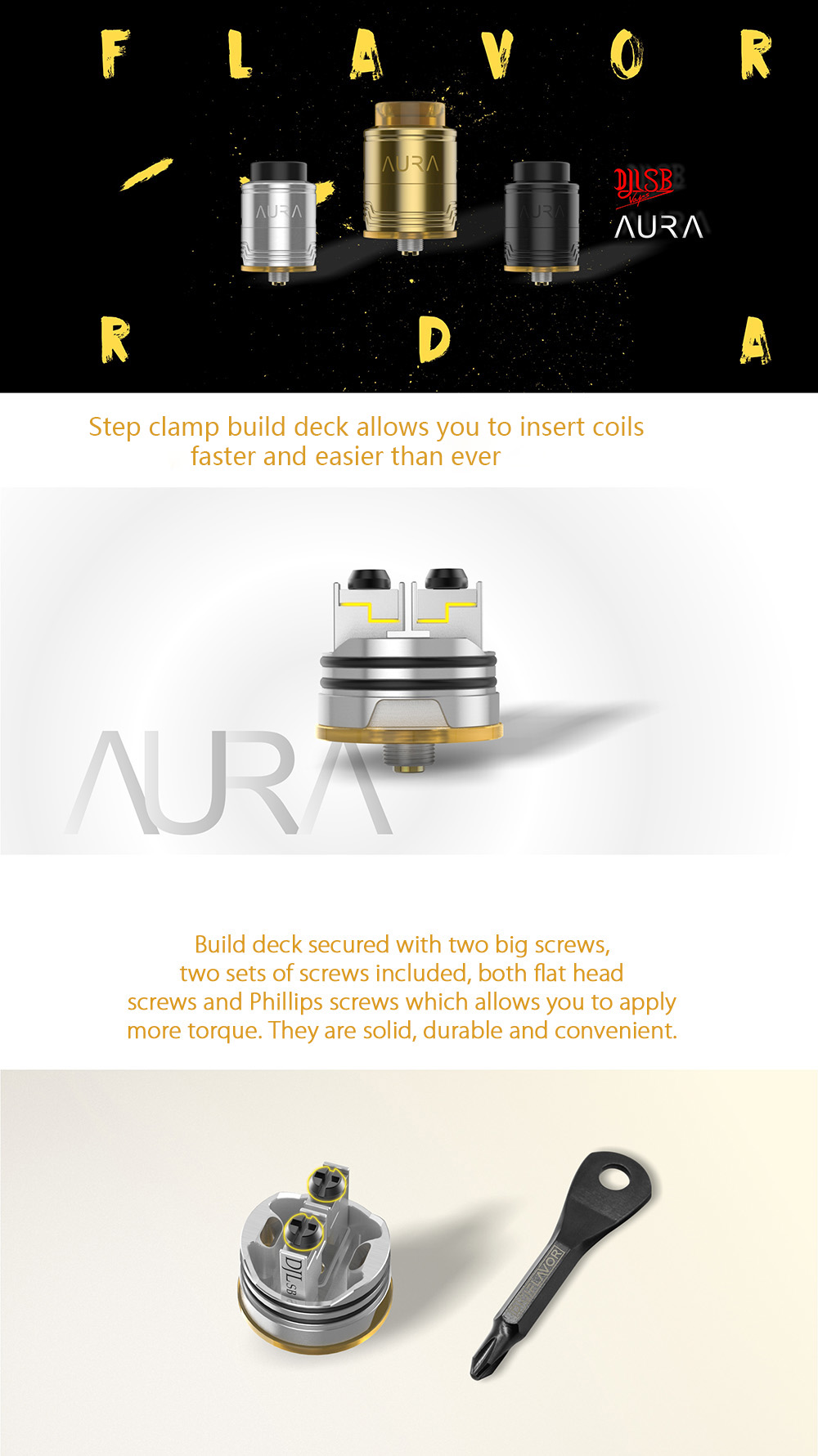 Original Digiflavor Aura RDA com Dupla Postagem Abraçadeira Construir Deck / Bottom / Side Airflow para E Cigarette