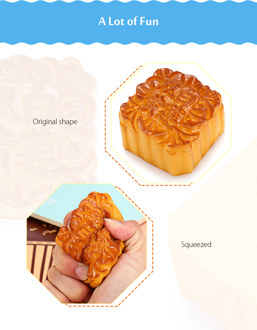Square Lotus Seed Paste Mooncake PU Foam Squishy Toy Stress Relief Product Decor Gift