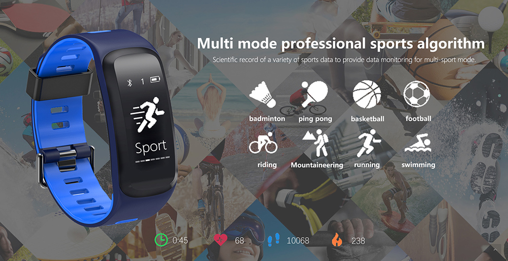 NO.1 F4 Heart Rate Smartband IP68 Waterproof Sleep Monitor Sedentary Reminder Remote Camera Bluetooth 4.0