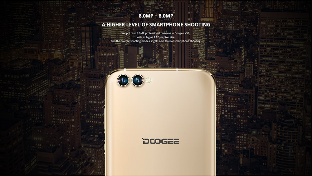 DOOGEE X30 3G Phablet Android 7.0 5.5 inch 2.5D Arc Screen MTK6580 1.3GHz Quad Core 2GB RAM 16GB ROM Dual Front Cameras Metal Body