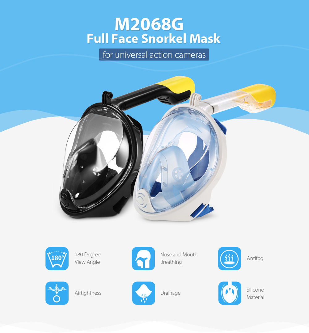 M2068G Full Face Snorkel Mask Water Sports Diving Equipment for Action Camera DV