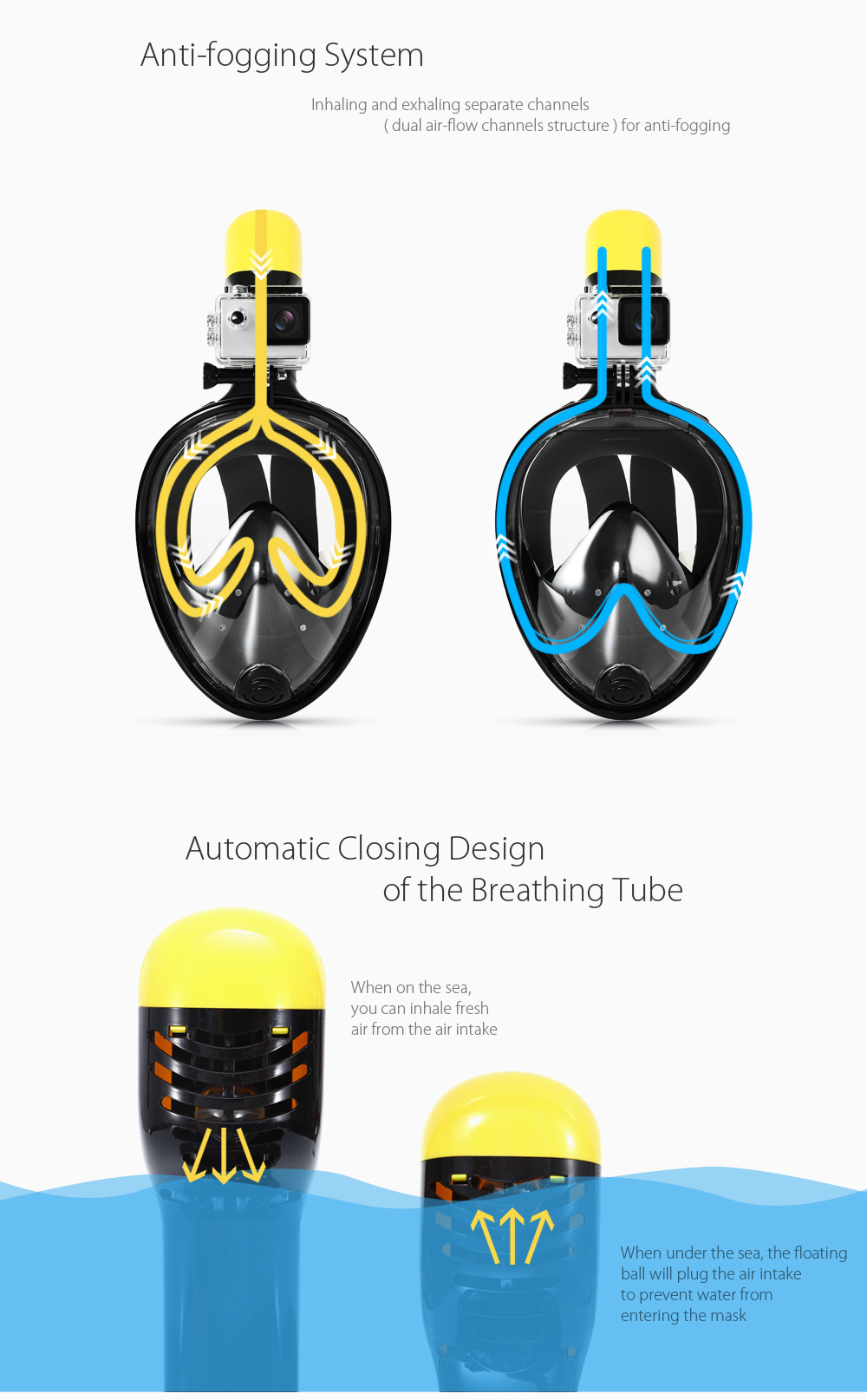 M2068G Full Face Snorkel Mask Water Sports Diving Equipment for Action Camera DV- Blue L / XL