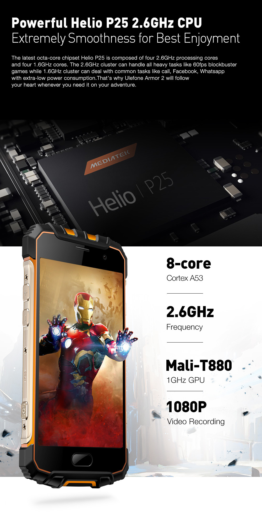 Ulefone Armor 2 4G Smartphone Android 7.0 5.0 inch Helio P25 Octa Core 2.6GHz 6GB RAM 64GB ROM IP68 Waterproof NFC 16.0MP Rear Camera- Golden