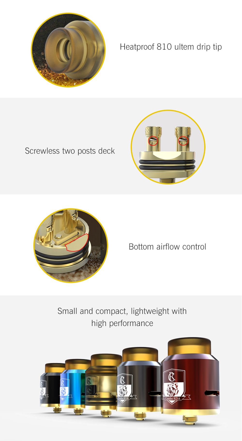 Original IJOY Combo RDA with Dual Posts / Gold-plated Deck / Bottom Airflow for E Cigarette- Black