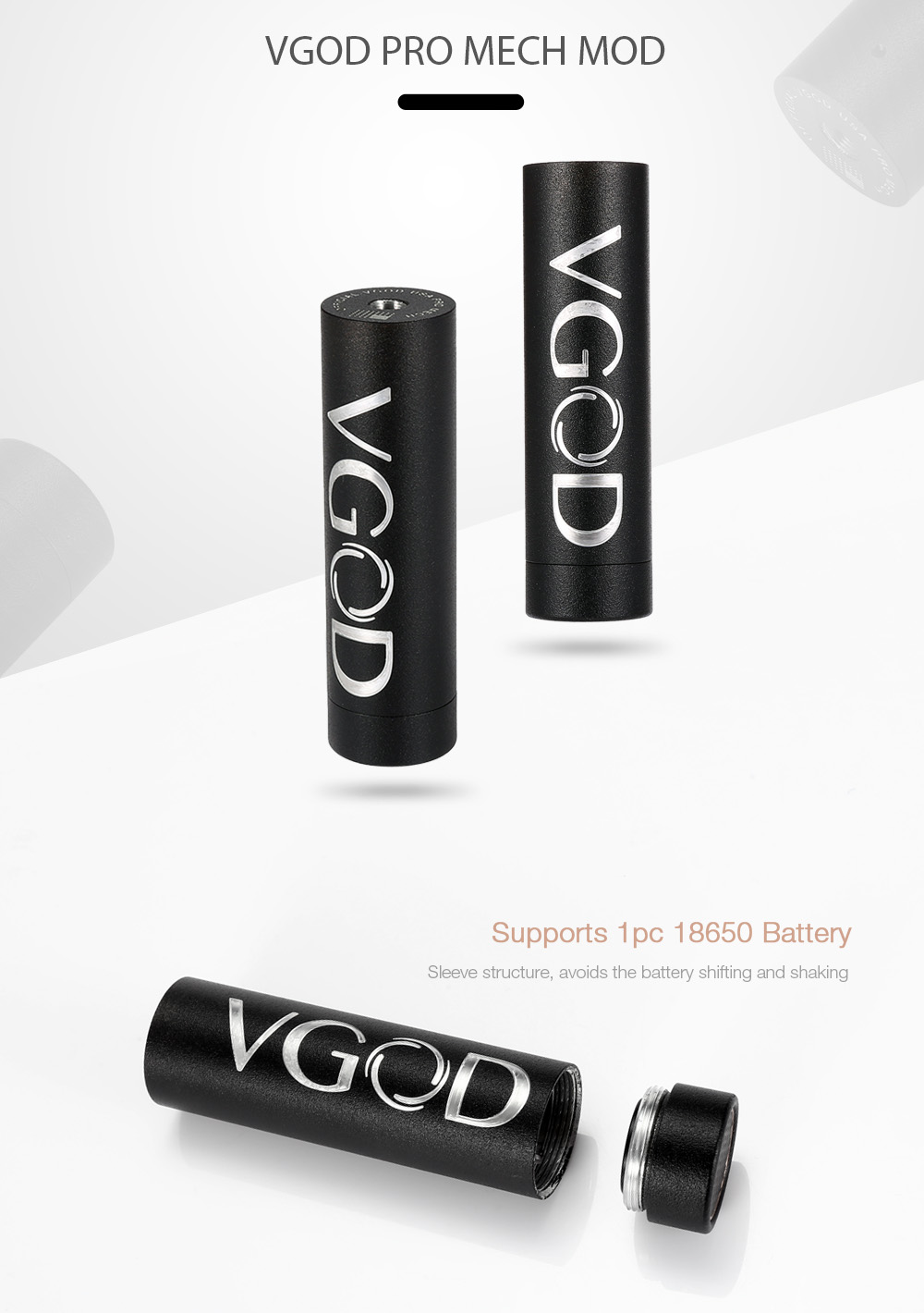 Original VGOD PRO MECH Mod with 24mm / Supporting 1pc 18650 Battery for E Cigarette