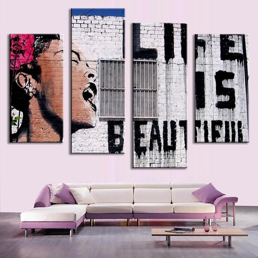 4PCS Canvas Western Style Modern Print Wall Decor for Home Decoration- Colormix