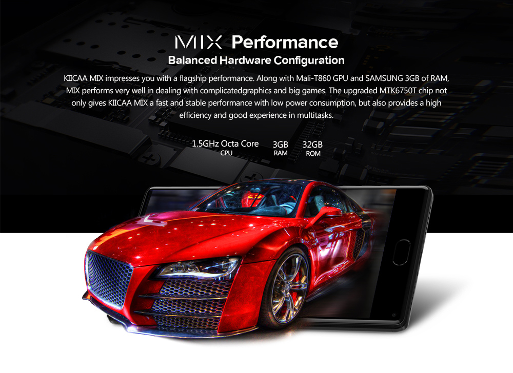LEAGOO KIICAA MIX 4G Phablet Android 7.0 5.5 inch MTK6750T Octa Core 1.5GHz 3GB RAM 32GB ROM 13.0MP + 2.0MP Dual Rear Cameras Front Fingerprint Scanner