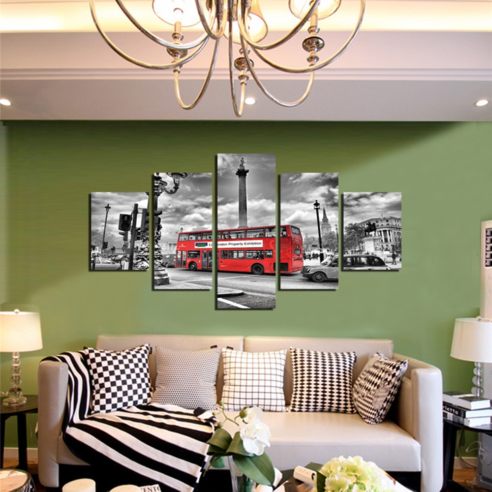 5pcs Red Bus Printing Canvas Wall Decoration 13 84