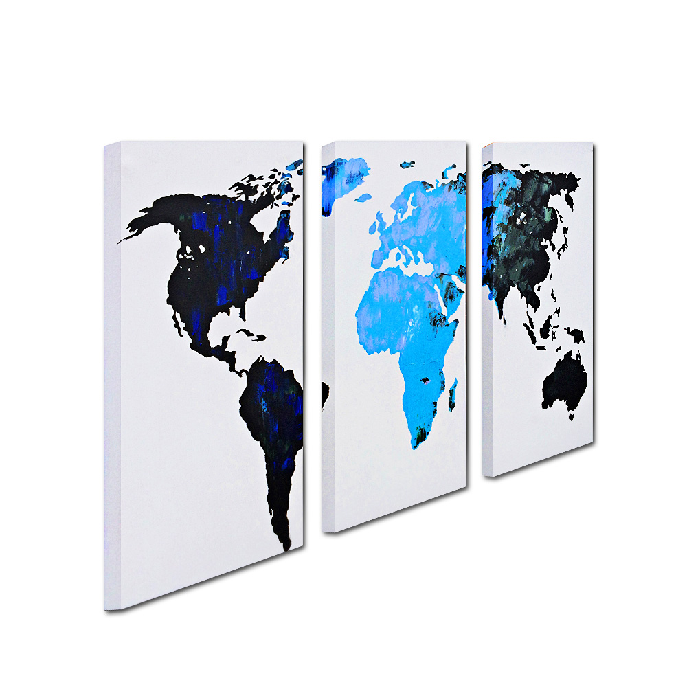 Yhhp 3 Pieces Abstract World Map Oil Painting