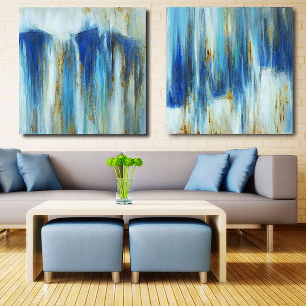 Happy Art Blue Canvas Oil Painting Abstract Hand Painted