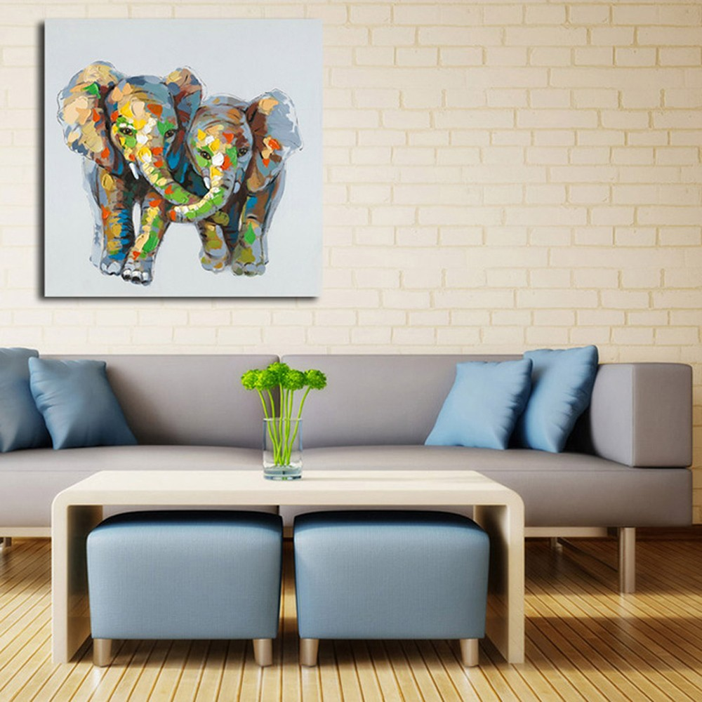 Happy Art Hand Painted Oil Painting On Canvas Elephant Artwork Animal  Picture Wall Art Home Decoration Part 42