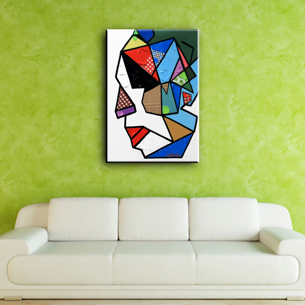 YHHP Hand Painted Colorful Abstract Faces Canvas Oil Painting Wall Art