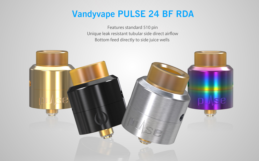 Original Vandyvape PULSE 24 BF RDA with Side Airflow / Bottom Feed for E Cigarette- Black