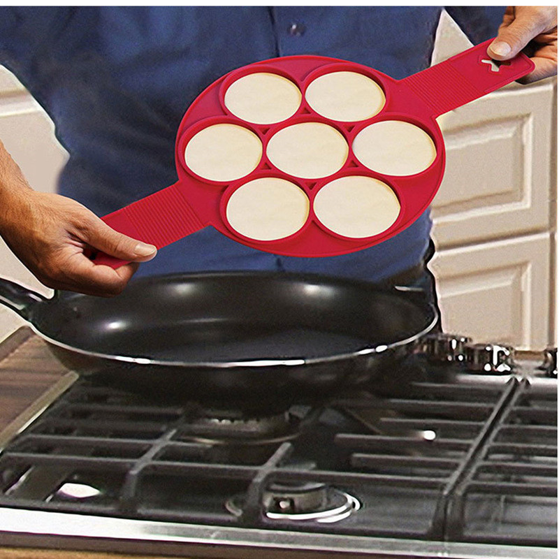 Non-stick Silicone Pancake Ring Fried Egg Mold Shaper- Red
