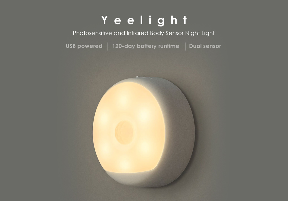 Yeelight USB Powered Photosensitive and Infrared Human Sensor Small Night Light- White 1PC