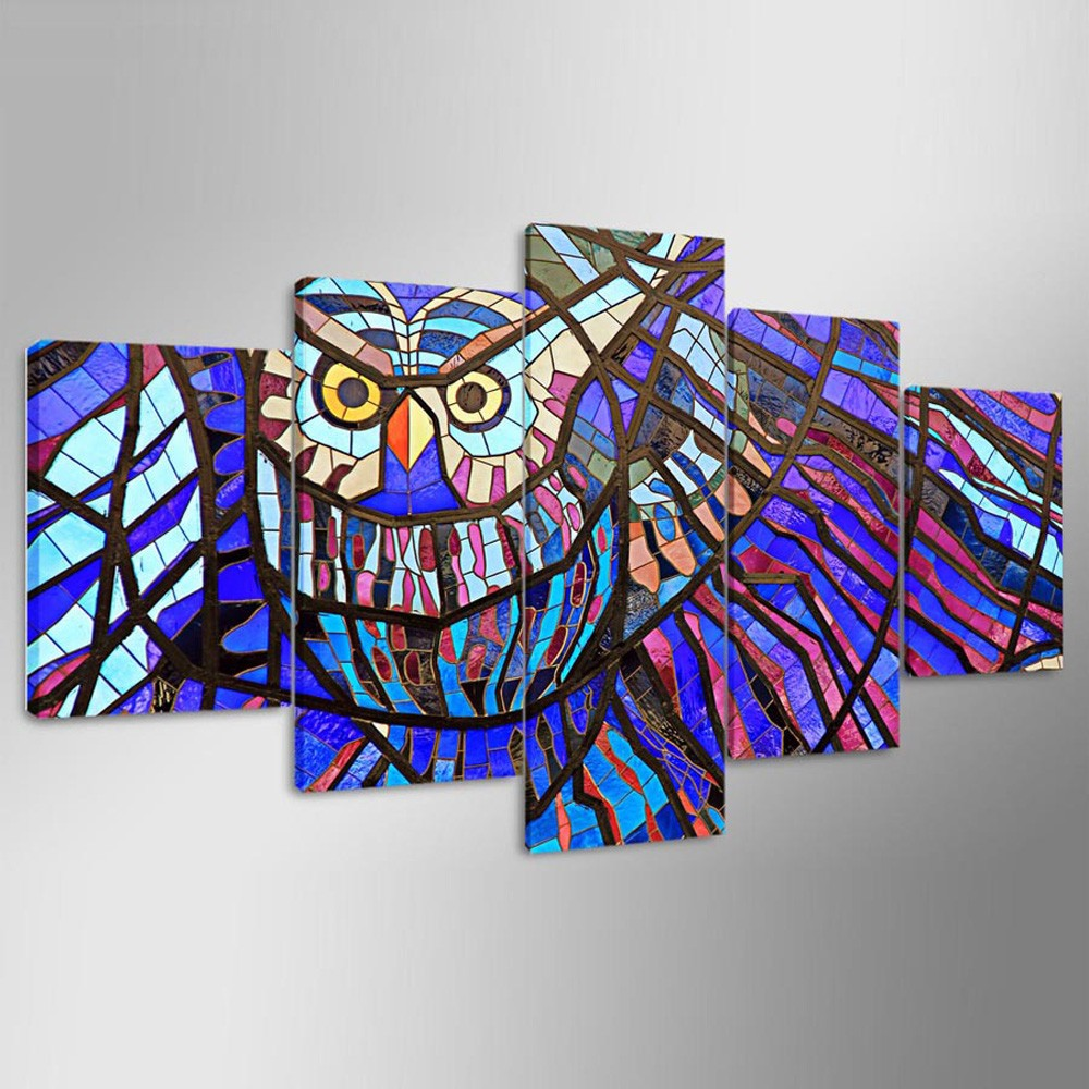 5PCS YSDAFEN Cartoon Colorful Owl Canvas Prints Home Decor Picture Artwork  Framed Wall Art Painting