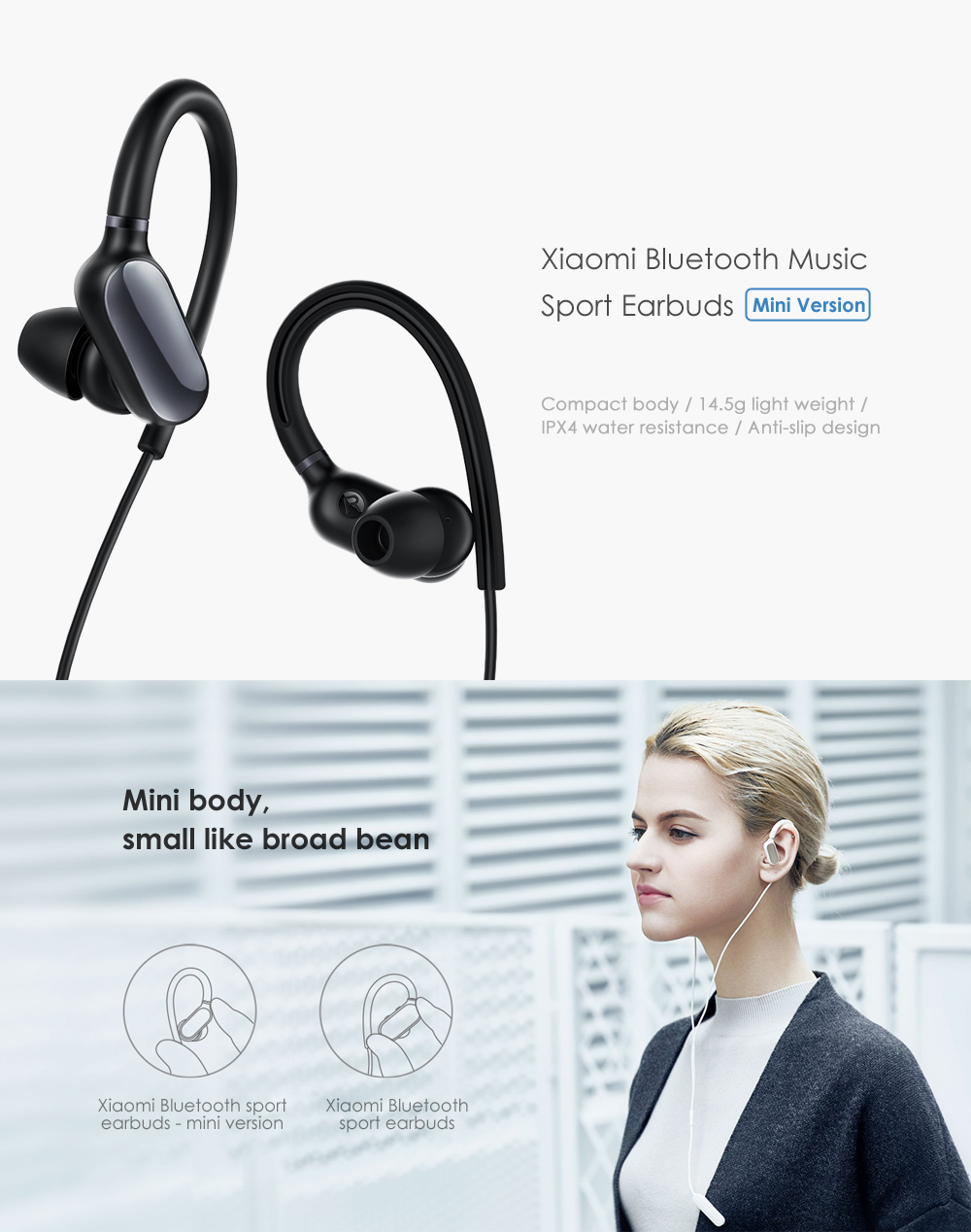 Original Xiaomi Wireless Stereo Music Bluetooth Sport Earbuds with Mic - Mini Version- Black