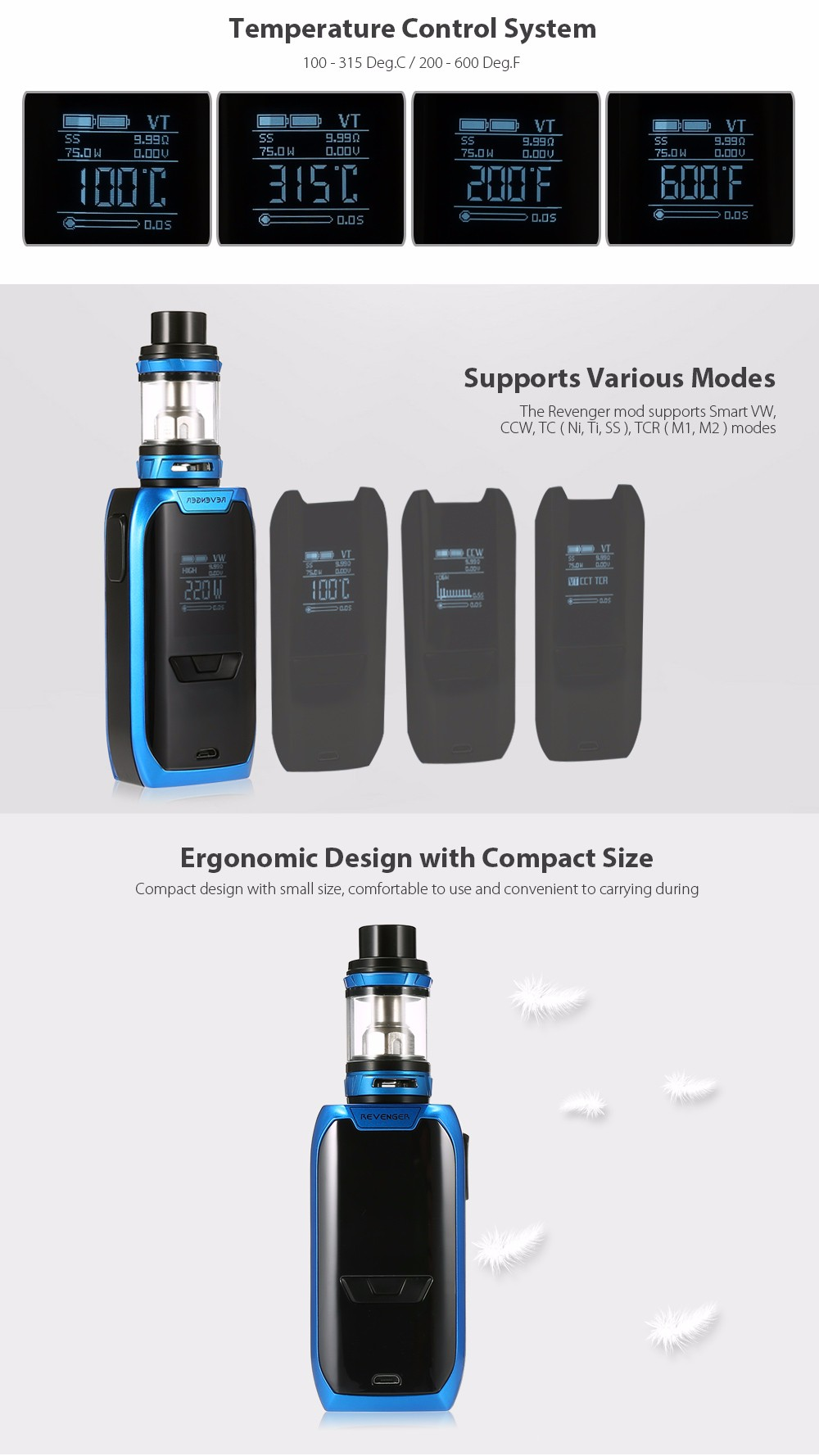 Original Vaporesso Revenger Kit with NRG 5ml Tank / 5 - 220W / Multiple Modes / 0.15 ohm for E Cigarette
