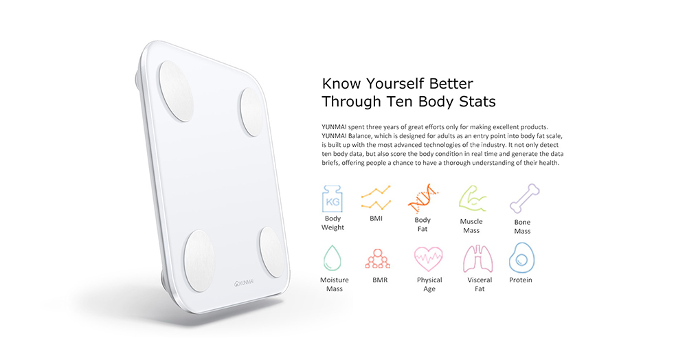 YUNMAI Mini 2 Balance Smart Body Fat Scale Intelligent Data Analysis APP Control Digital Weighing Tool from Xiaomi- White
