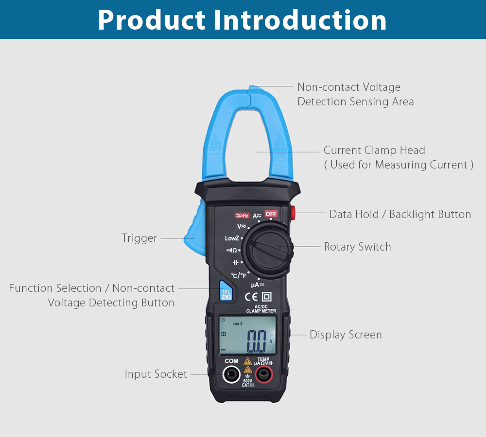 Bside Ut203 Temperature Measurement Ac Dc Clamp Meter 4099 Shade Motors Can The Polarity Be Reversed With A Simple Switch Low Resistance Black Blue