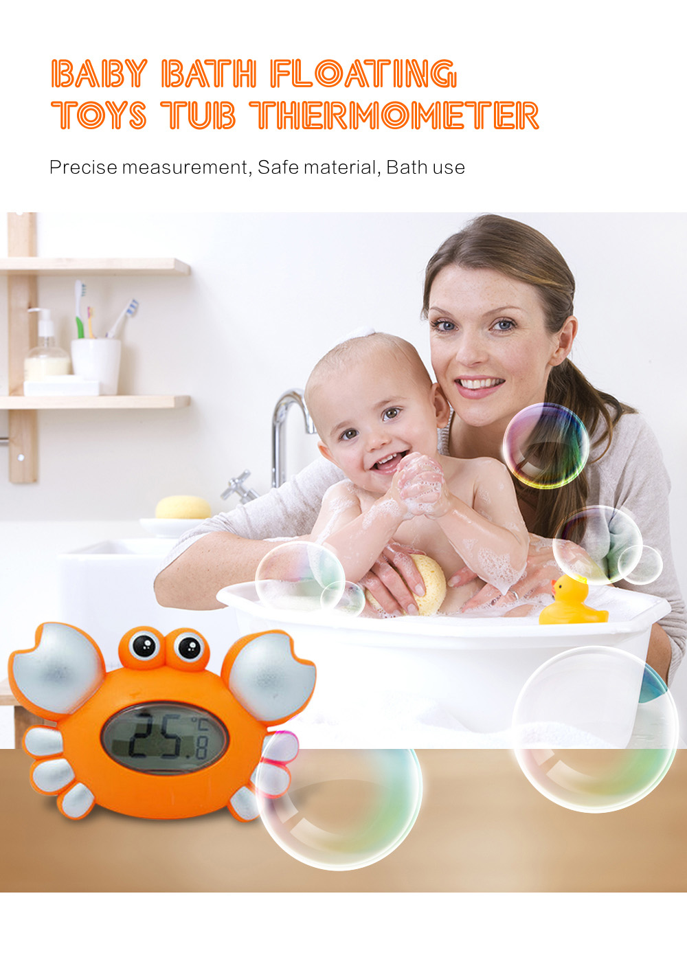 crab baby bath floating toy tub thermometer adding 4pcs jenga accessory 17 7 online shopping. Black Bedroom Furniture Sets. Home Design Ideas