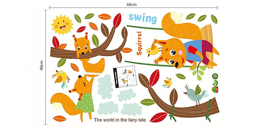 DSU Squirrel Swing Removable Waterproof Wall Sticker- Colormix 60 x 40cm