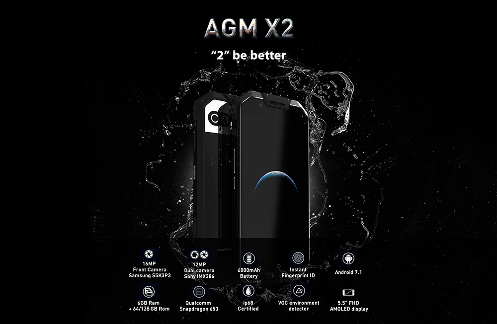 AGM X2 4G Phablet Android 7.1 5.5 inch Snapdragon 653 Octa Core 1.95GHz 6GB RAM 64GB ROM Dual 12.0MP Rear Cameras 6000mAh Battery- Black
