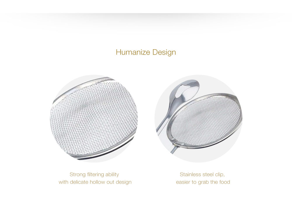 Kitchen Stainless Steel Mesh Spoon Fried Food Oil Strainer- Silver