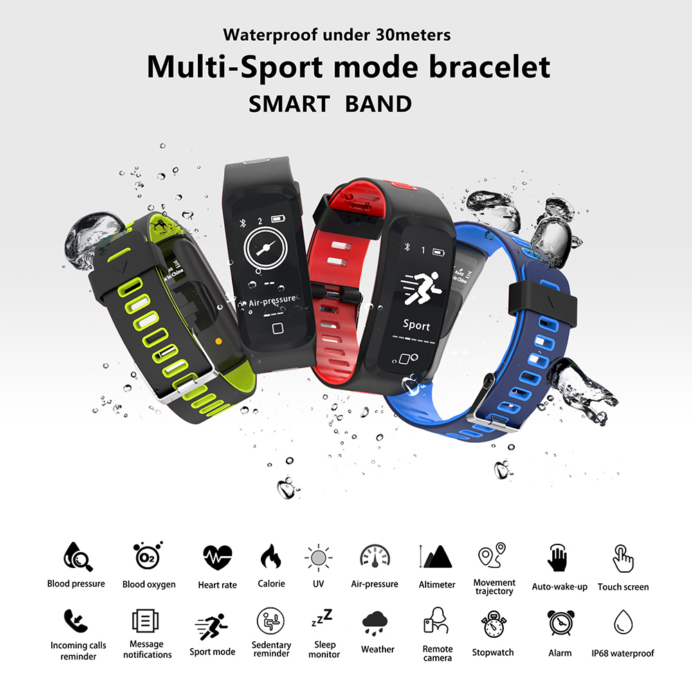 NO.1 GT1 Sports Smartband IP68 Waterproof Heart Rate / Sleep Monitor Pedometer Remote Camera Sedentary Reminder