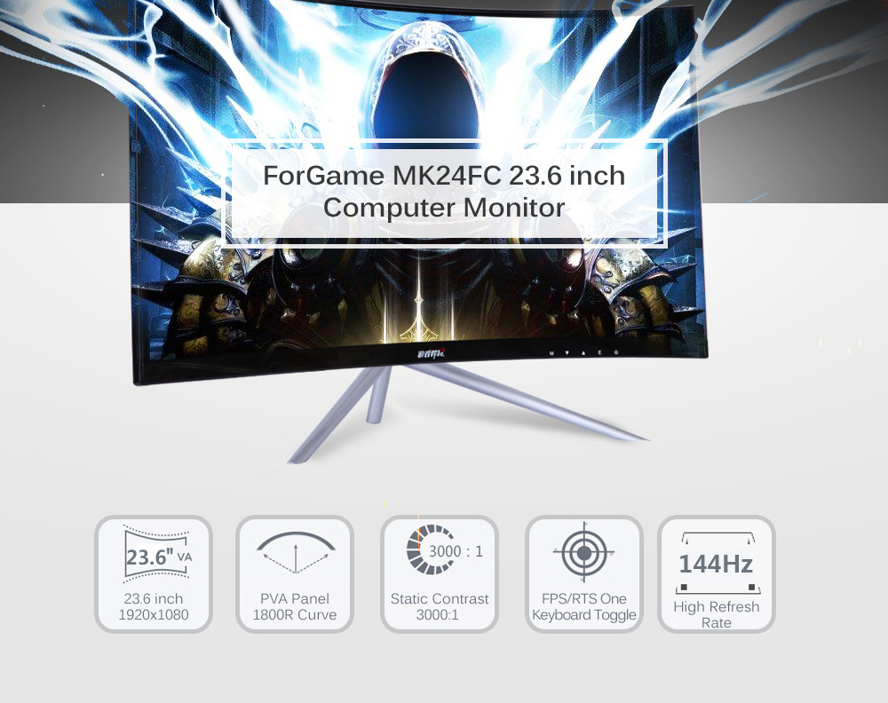 ForGame MK24FC 23.6 inch 1920 x 1080 144Hz 1800R Curved Screen Computer Monitor