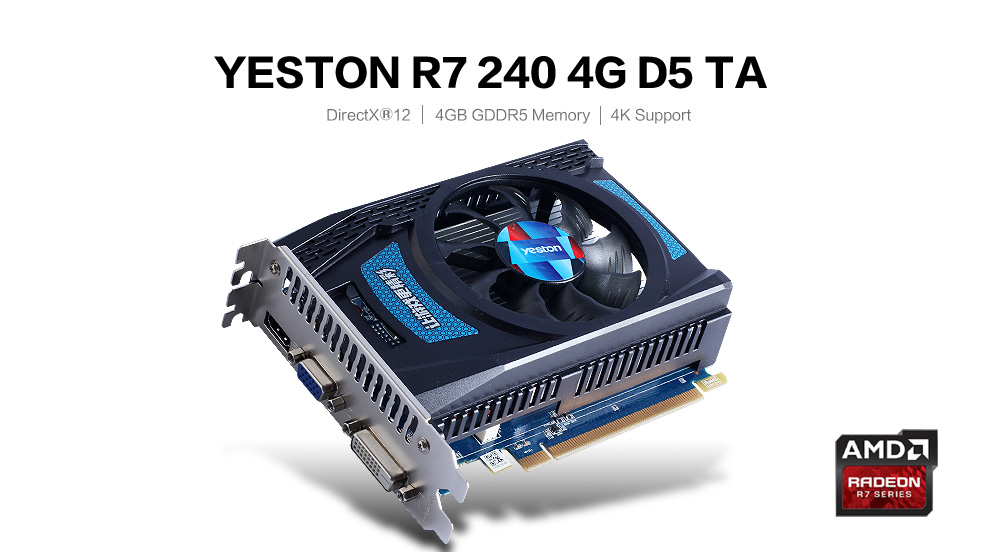 Yeston AMD Radeon R7 240 4GB GDDR5 Graphics Card 128bit 320SP HDMI VGA DVI