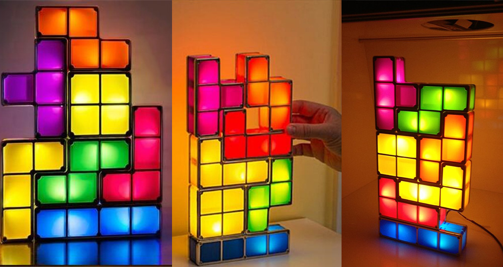 DIY Stackable Block Puzzle Tetris LED USB Table Night Lamp Retro Playing  Tower Colored Toy Brick - DIY Stackable Block Puzzle Tetris LED USB Table Night Lamp -$34.72