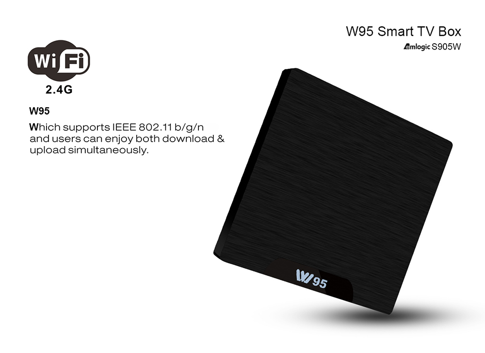 W95 Amlogic S905W TV Box 1.2GHz WiFi Android 7.1 1GB DDR3 + 8GB eMMC- EU Plug 1GB RAM + 8GB ROM