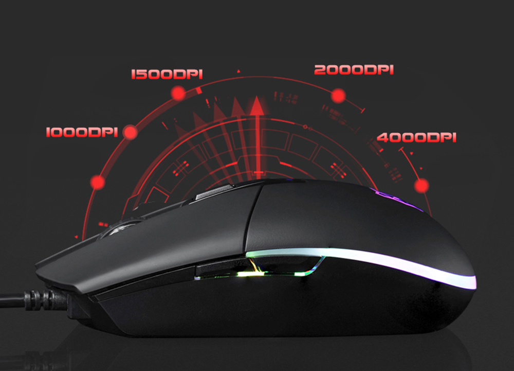 Motospeed V50 USB Wired Gaming Mouse with LED Backlit Display- Black