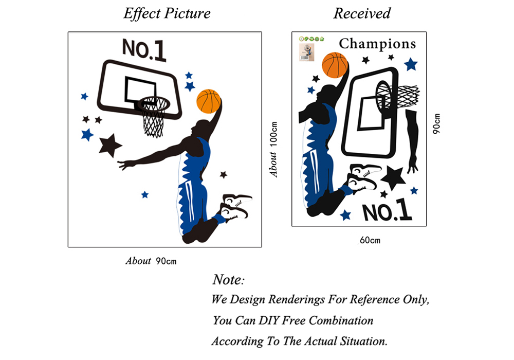 Creative DIY Removable Cartoon Basketball Sports Decal Wallpaper Wall Sticker for Home Decor- Colormix