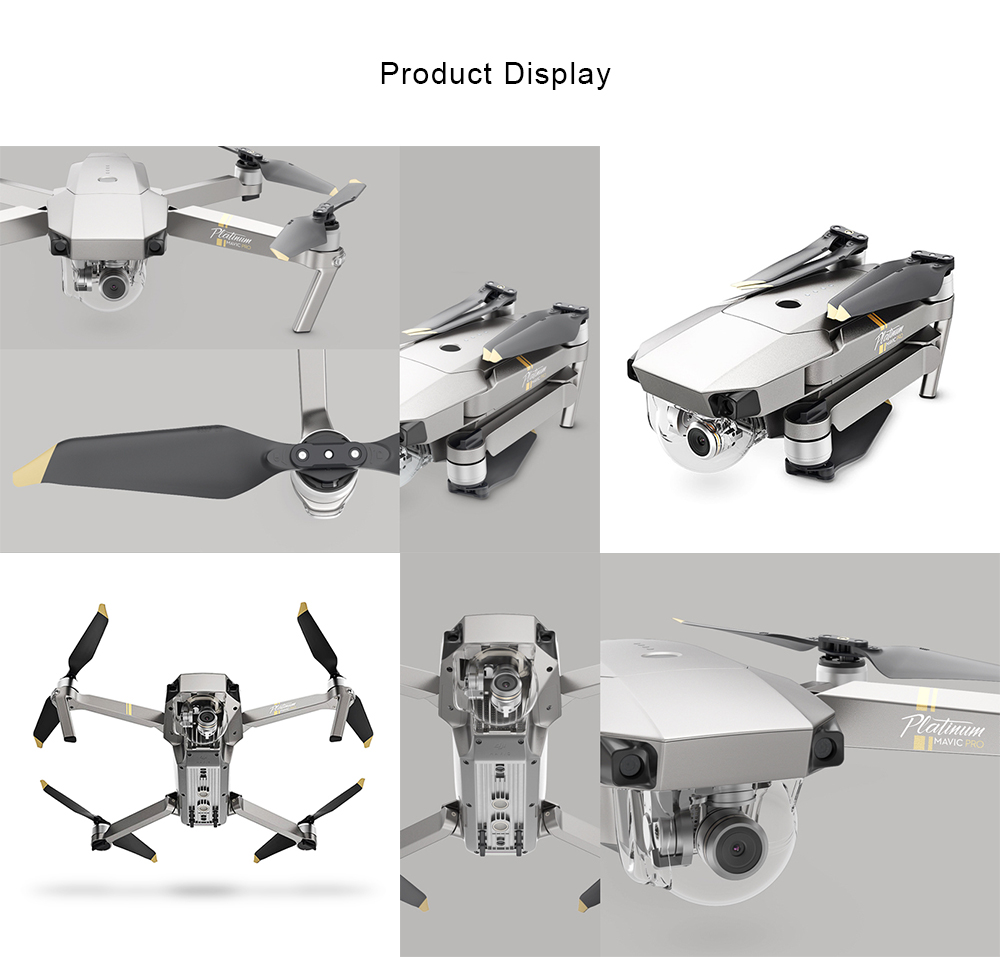 DJI Mavic Pro Platinum Foldable RC Drone RTF WiFi FPV 4K UHD / 4dB Noise Reduction / 30min Flight Time
