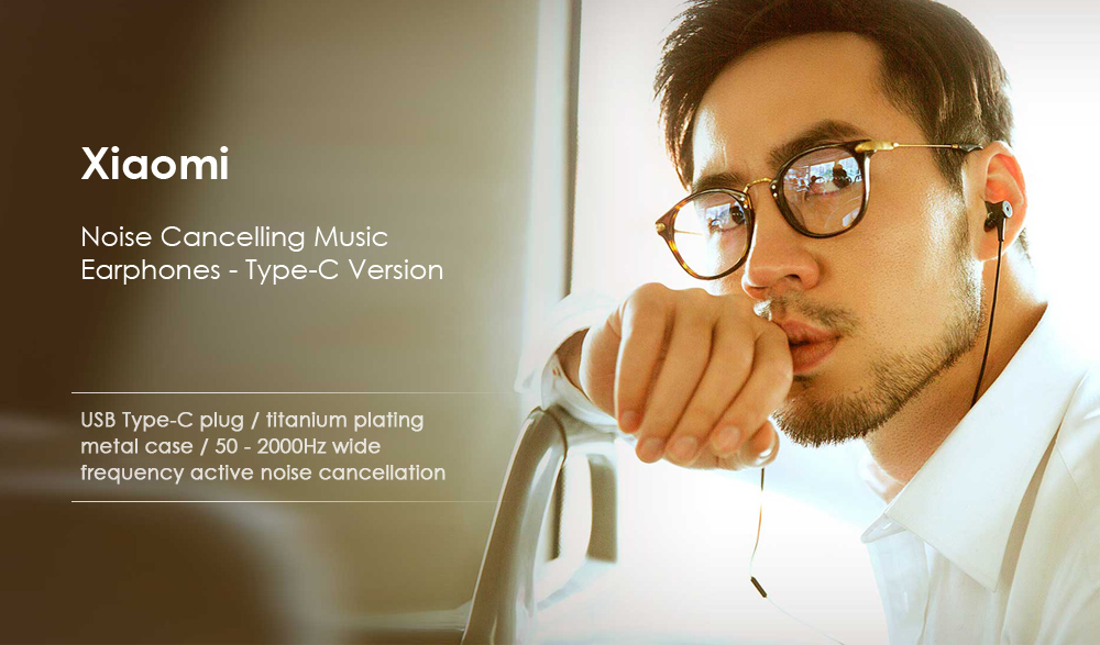 Original Xiaomi Noise Cancellation In-ear Earphones Type-C Version with Mic- Black