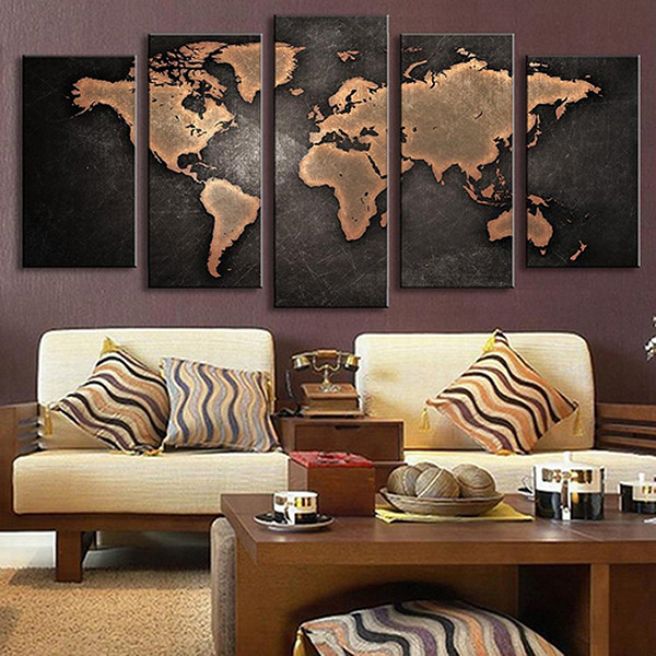 5pcs retro world map printed canvas print unframed wall art 5pcs retro world map pattern canvas print unframed wall art gumiabroncs Gallery