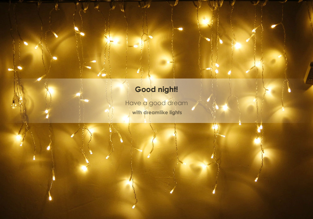kwb led christmas lights outdoor decoration lights 35m droop led curtain icicle string lights white - Amber Christmas Lights